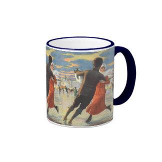 Vintage Christmas, Couple Ice Skating Ringer Coffee Mug