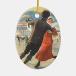 Vintage Christmas, Couple Ice Skating Double-Sided Oval Ceramic Christmas Ornament