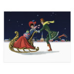 Vintage Christmas, Couple in Love Ice Skating Post Card