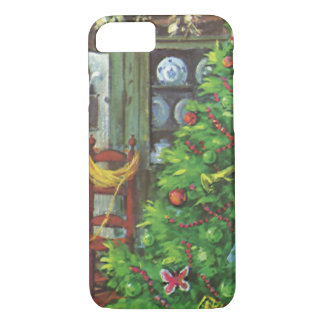 Vintage Christmas, Cozy Log Cabin Fireplace iPhone 7 Case