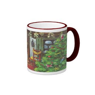 Vintage Christmas, Cozy Log Cabin Fireplace Ringer Mug