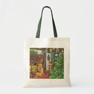 Vintage Christmas, Cozy Log Cabin with Fireplace Tote Bag