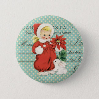 Vintage Christmas Cute Girl Poinsettia Mint Dots 2 Inch Round Button