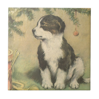 Vintage Christmas, Cute Pet Puppy Dog Ceramic Tiles