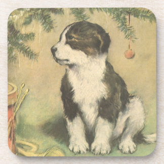 Vintage Christmas, Cute Pet Puppy Dog Coasters