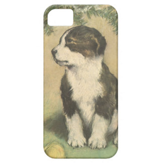 Vintage Christmas, Cute Pet Puppy Dog iPhone 5 Cases
