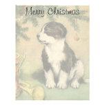 Vintage Christmas, Cute Pet Puppy Dog Custom Letterhead