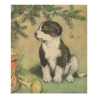 Vintage Christmas, Cute Pet Puppy Dog Poster