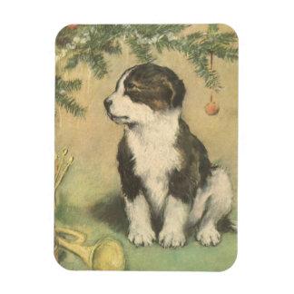 Vintage Christmas, Cute Pet Puppy Dog Rectangular Photo Magnet