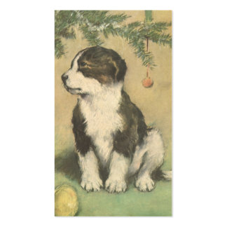 Vintage Christmas, Cute Puppy Dog Business Card Templates