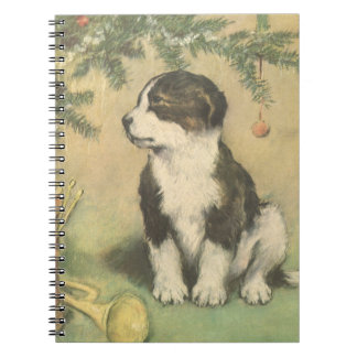 Vintage Christmas Cute Puppy Dog Notebooks