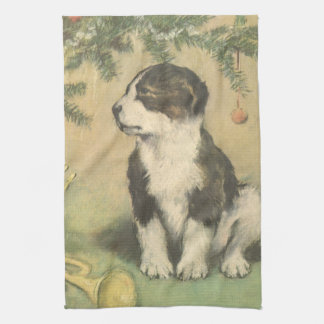 Vintage Christmas, Cute Puppy Under Christmas Tree Kitchen Towel