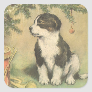 Vintage Christmas, Cute Puppy Under Christmas Tree Square Sticker