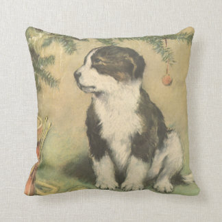 Vintage Christmas, Cute Puppy Under Christmas Tree Throw Pillow