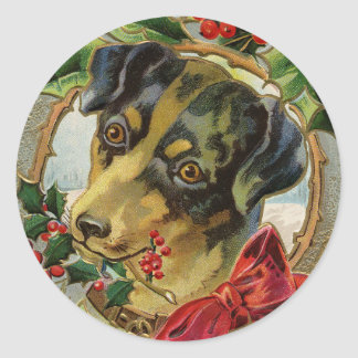 Vintage Christmas, Dachshund Puppy Dog with Holly Classic Round Sticker