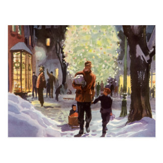 Vintage Christmas Dad Shopping with Kids Postcard