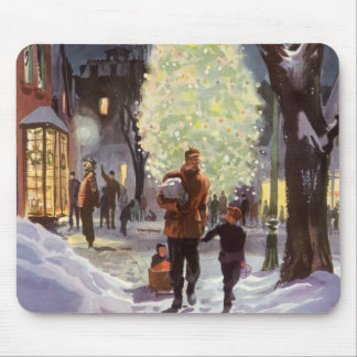 Vintage Christmas, Dad Shopping with the Kids Mouse Pad