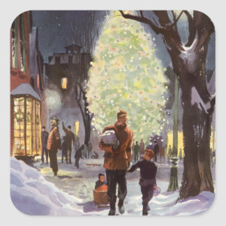 Vintage Christmas, Dad Shopping with the Kids Square Sticker