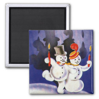 Vintage Christmas Dancing Snowmen with Candles Magnet