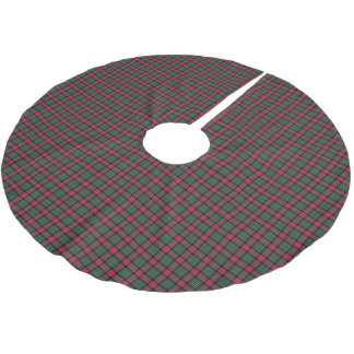 Vintage Christmas Dark Green and Red Plaid Pattern Brushed Polyester Tree Skirt
