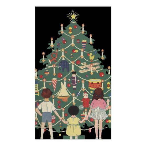 Vintage Christmas, Decorated Tree and Children Business Card