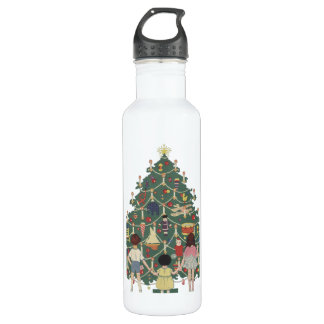 Vintage Christmas, Decorated Tree and Children 24oz Water Bottle