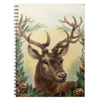 Vintage Christmas Deer Notebook