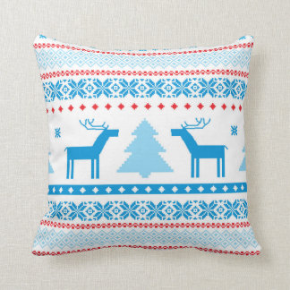 Vintage Christmas deer pattern throw pillow