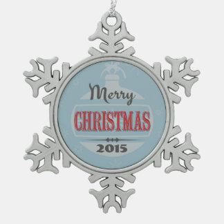 Vintage Christmas design Pewter Snowflake Ornament