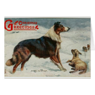 Vintage christmas dog in the snow greeting card