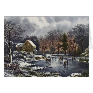 Vintage Christmas, Early Winter Skaters on Pond Card