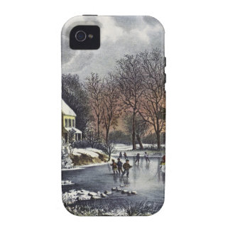 Vintage Christmas, Early Winter, Skaters on Pond iPhone 4 Cover