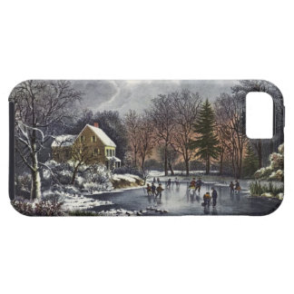 Vintage Christmas, Early Winter Skaters on Pond iPhone 5 Covers