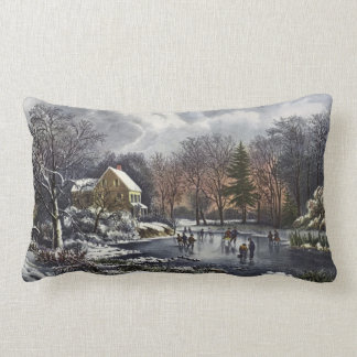 Vintage Christmas, Early Winter Skaters on Pond Lumbar Pillow
