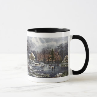 Vintage Christmas, Early Winter Skaters on Pond Mug