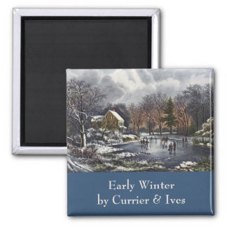 Vintage Christmas, Early Winter Skaters on Pond Square Magnet