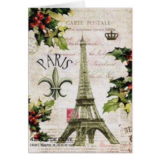 Vintage Christmas Eiffel tower notecard