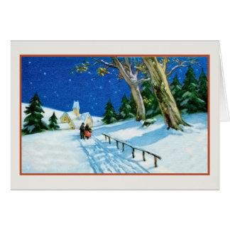 Vintage Christmas elderly couple snow church Card