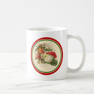 Vintage Christmas Elf with Mushroom Coffee Mug