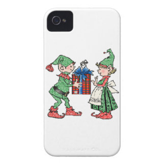Vintage Christmas Elves Gift Giving iPhone 4 Case-Mate Cases