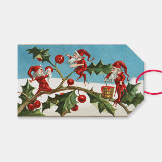 Vintage Christmas Elves & Holly Gift Tags