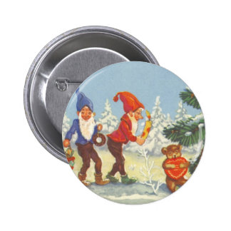 Vintage Christmas Elves in the Snow Forest Winter Pin