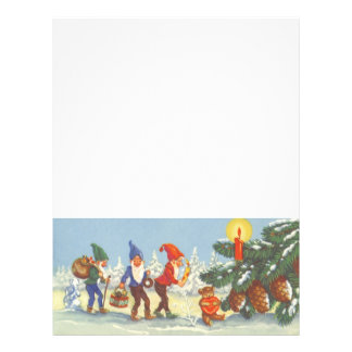Vintage Christmas Elves in the Snow Forest Winter Personalized Flyer