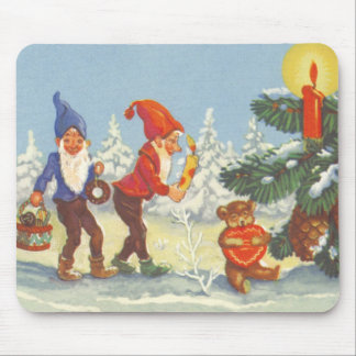 Vintage Christmas, Elves in the Snow Forest Winter Mouse Pad