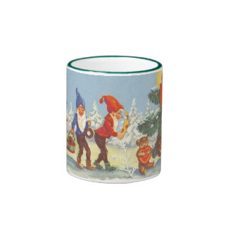 Vintage Christmas, Elves in the Snow Forest Winter Ringer Coffee Mug