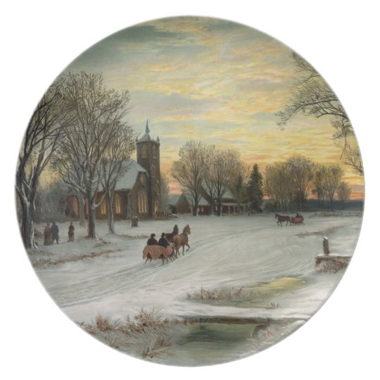Vintage Christmas Eve Night Plate
