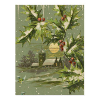 Vintage Christmas Eve Night Postcard