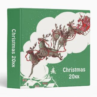 Vintage Christmas Eve, Retro Santa Claus in Sleigh 3 Ring Binder