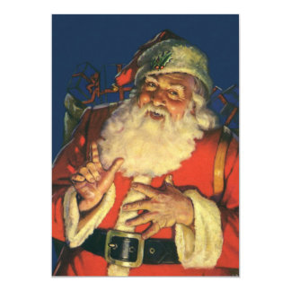 Vintage Christmas Eve Retro Santa Claus Invitation