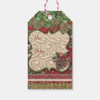Vintage Christmas Evergreen & Pinecones Gift Tag Pack Of Gift Tags
